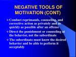 negative tools of motivation cont