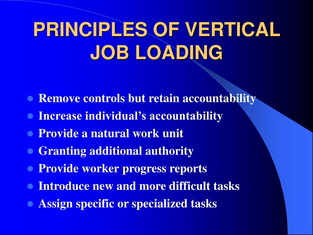 PRINCIPLES OF VERTICAL JOB LOADING
