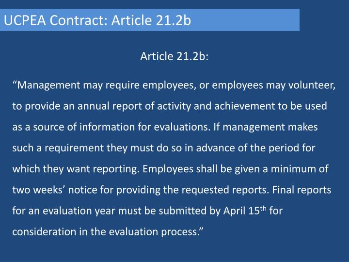 UCPEA Contract: Article 21.2b