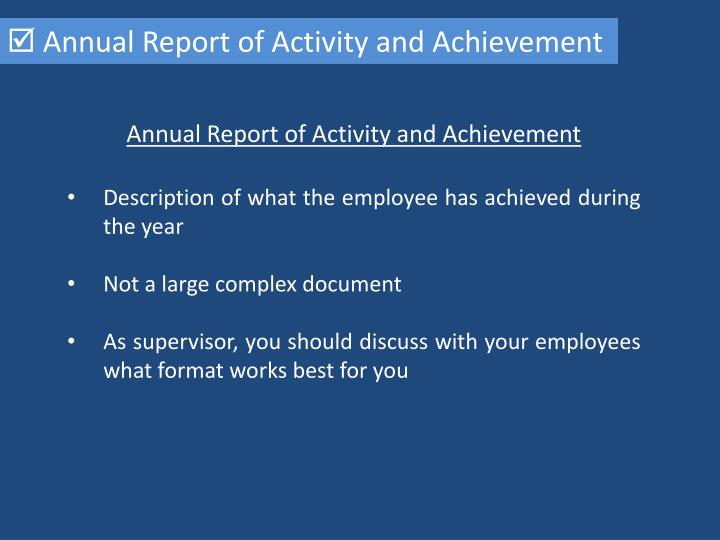  Annual Report of Activity and Achievement