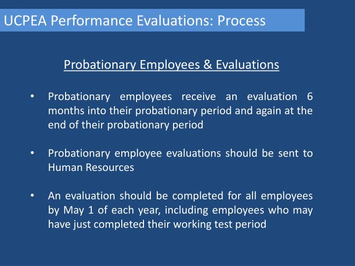 UCPEA Performance Evaluations: Process