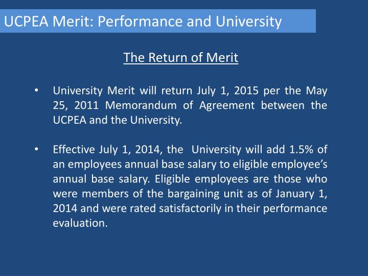 UCPEA Merit: Performance and University