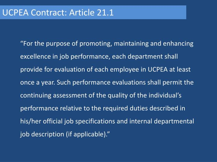 UCPEA Contract: Article 21.1