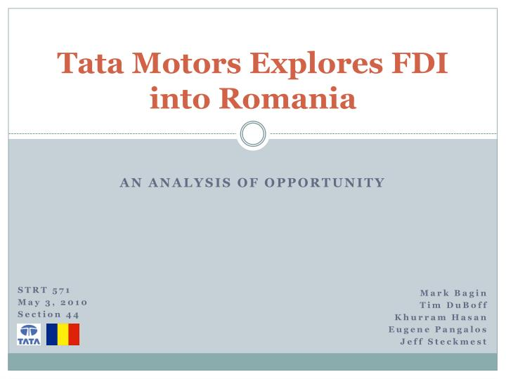 tata motors explores fdi into romania n.