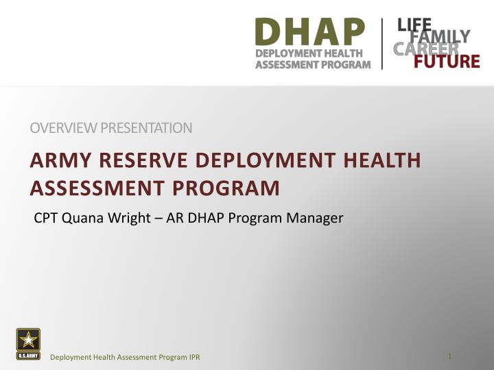 Ppt army reserve deployment health assessment program powerpoint army reserve deployment health assessment program overview presentation toneelgroepblik Image collections