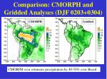comparison cmorph and gridded analyses djf 0203 0304