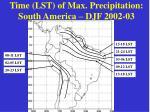 time lst of max precipitation south america djf 2002 03