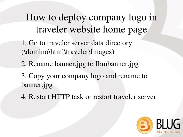 How to deploy company logo in traveler website home page