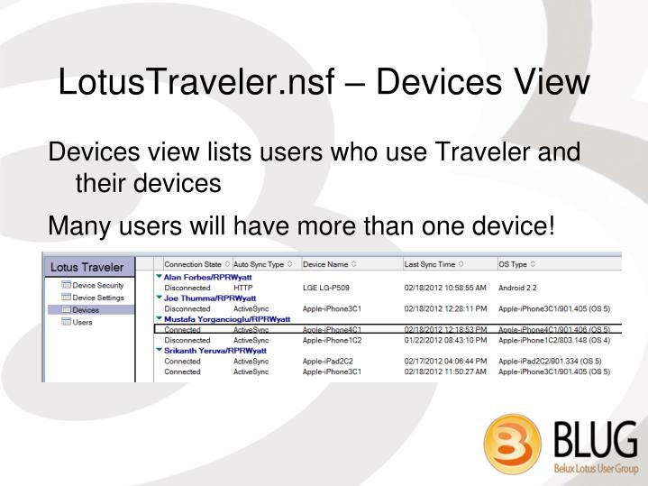 LotusTraveler.nsf – Devices View