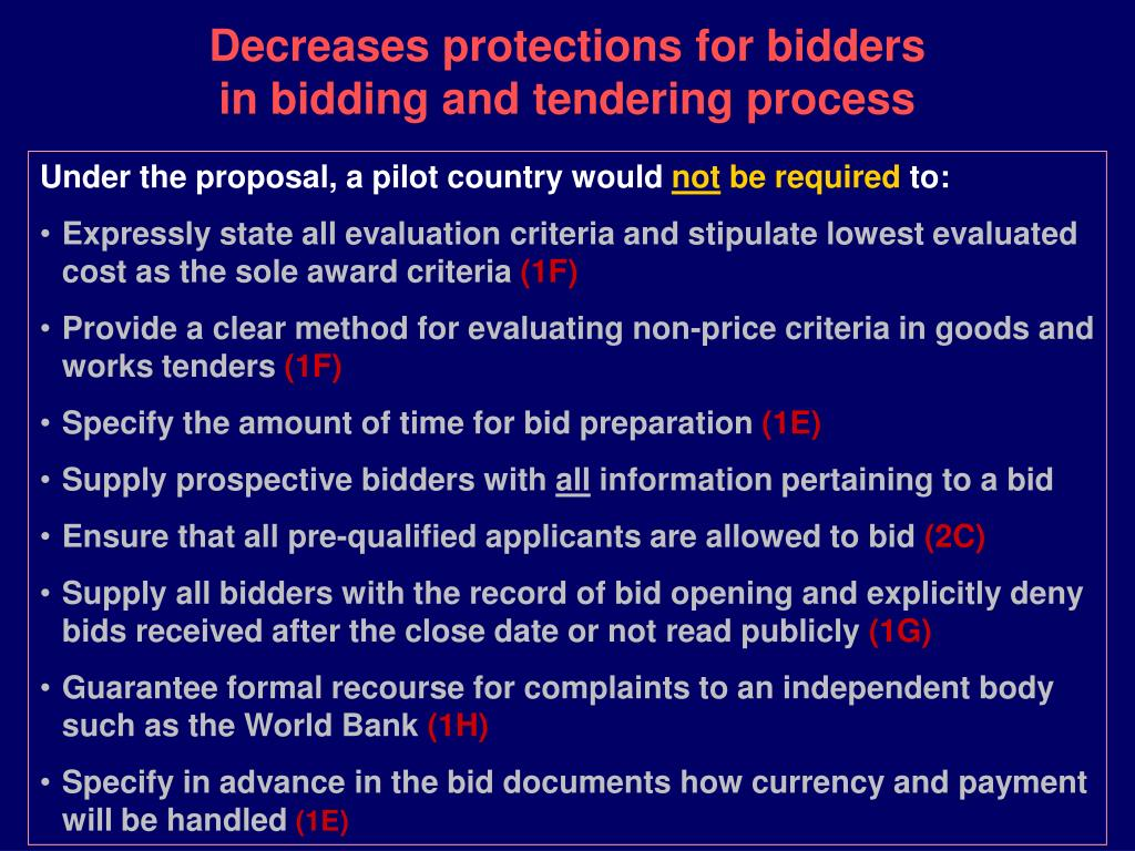 Decreases protections for bidders