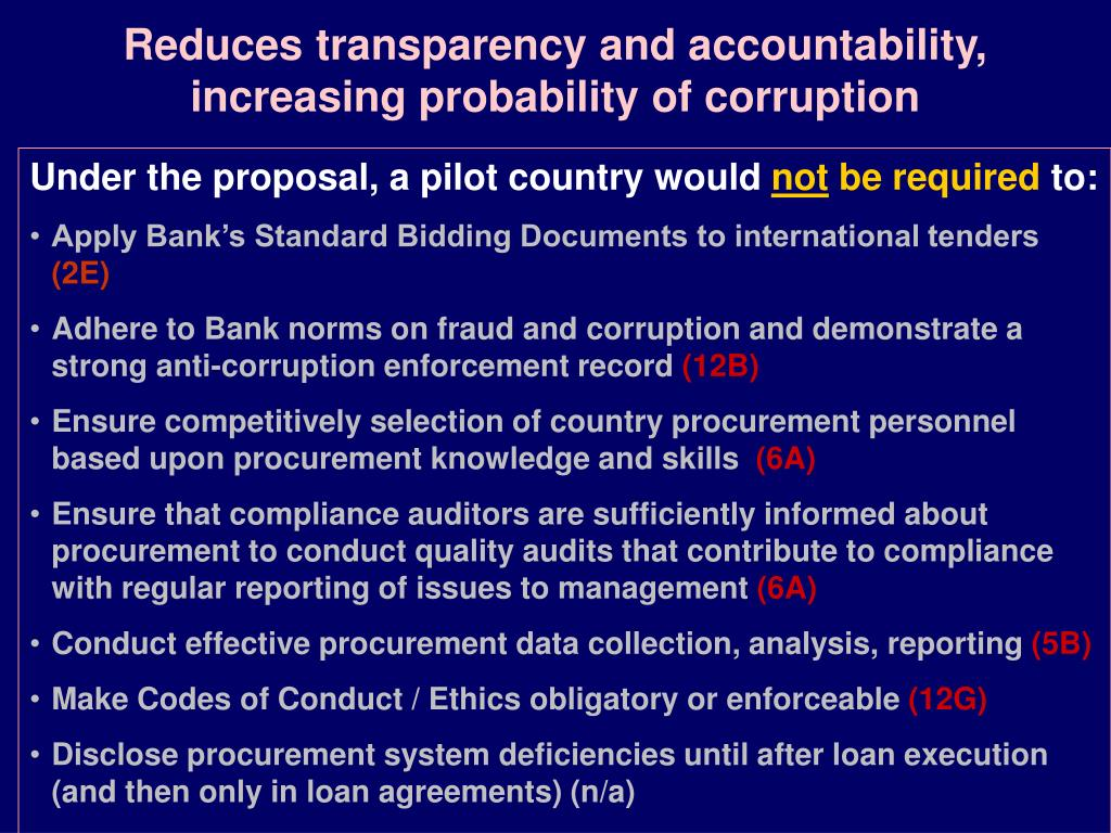 Reduces transparency and accountability, increasing probability of corruption