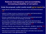 reduces transparency and accountability increasing probability of corruption