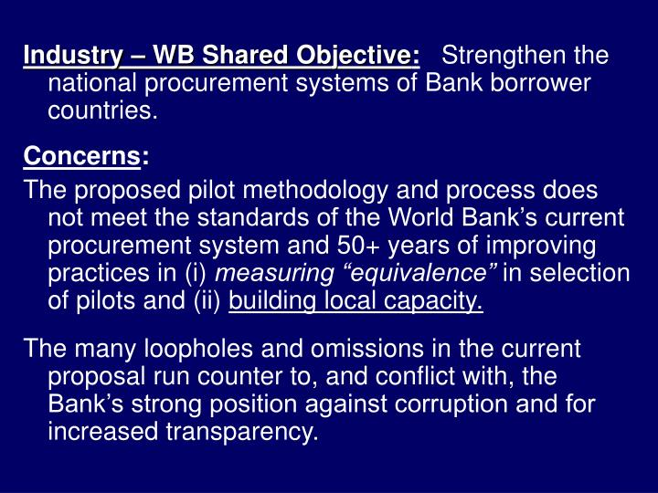 Industry – WB Shared Objective