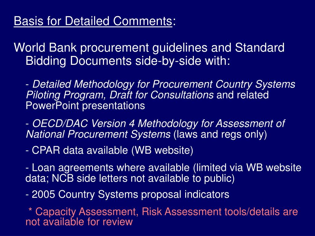 Basis for Detailed Comments