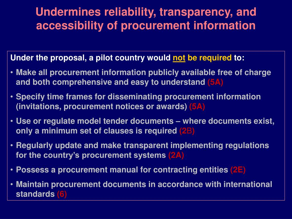 Undermines reliability, transparency, and accessibility of procurement information