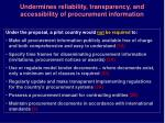 undermines reliability transparency and accessibility of procurement information