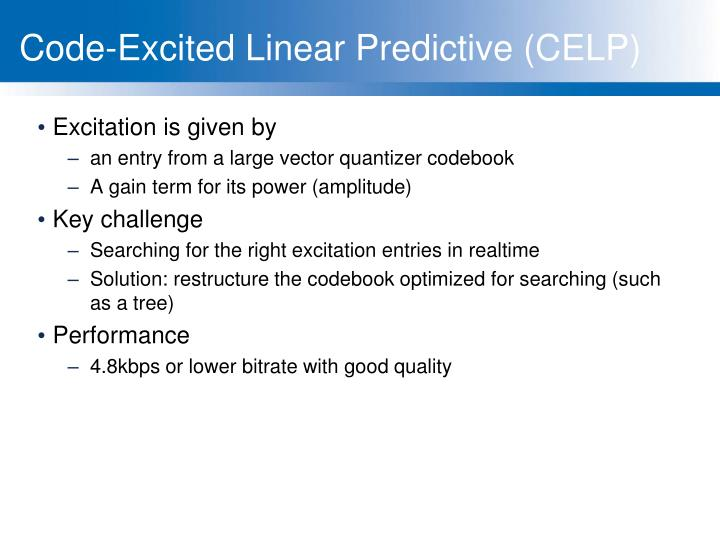 Code-Excited Linear Predictive (CELP)