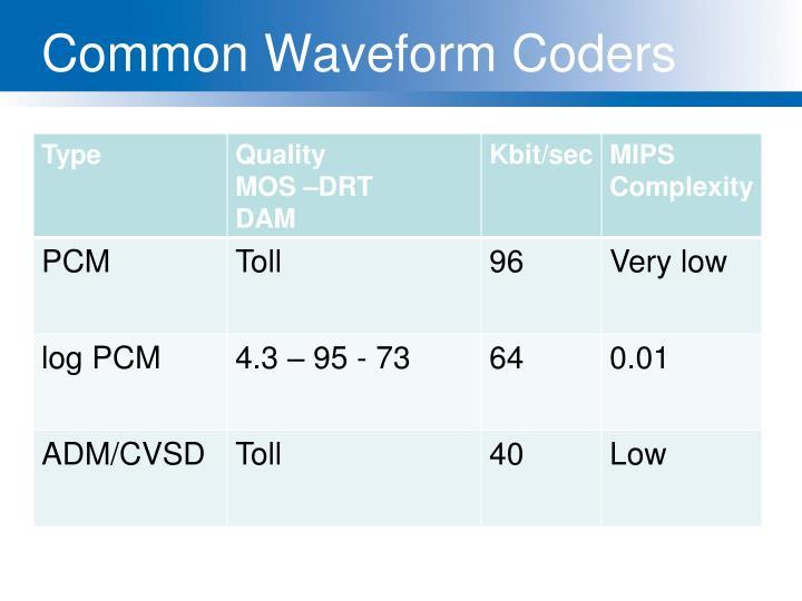 Common Waveform Coders