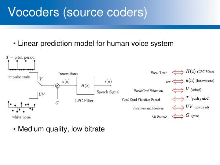 Vocoders (source coders)