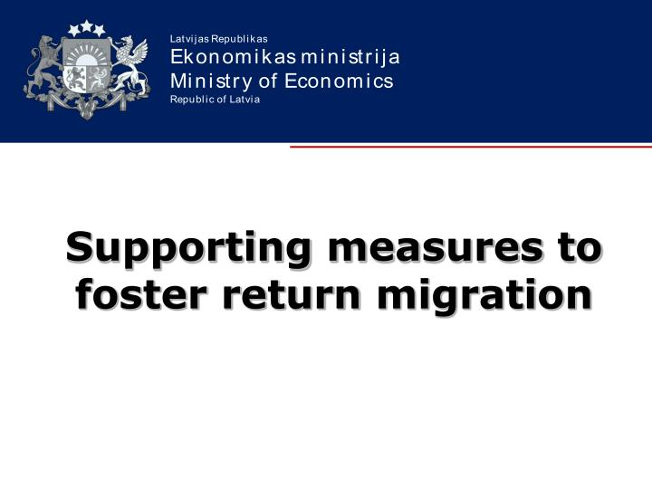 supporting measures to foster return migration n.