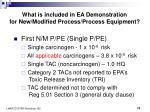 what is included in ea demonstration for new modified process process equipment