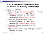 what is included in ea demonstration for section 2 5 existing n m p pe