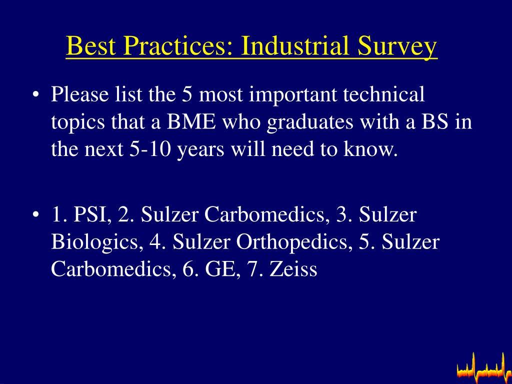 Best Practices: Industrial Survey