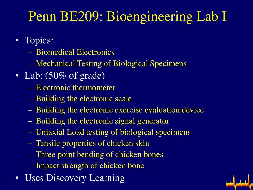 Penn BE209: Bioengineering Lab I