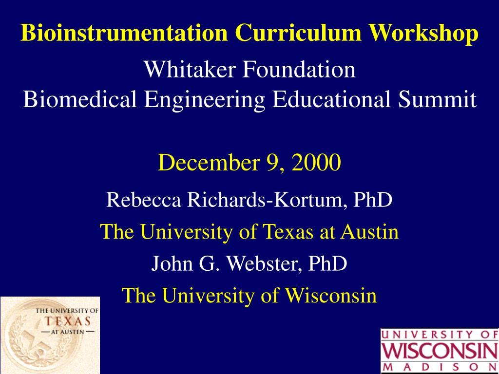 Bioinstrumentation Curriculum Workshop
