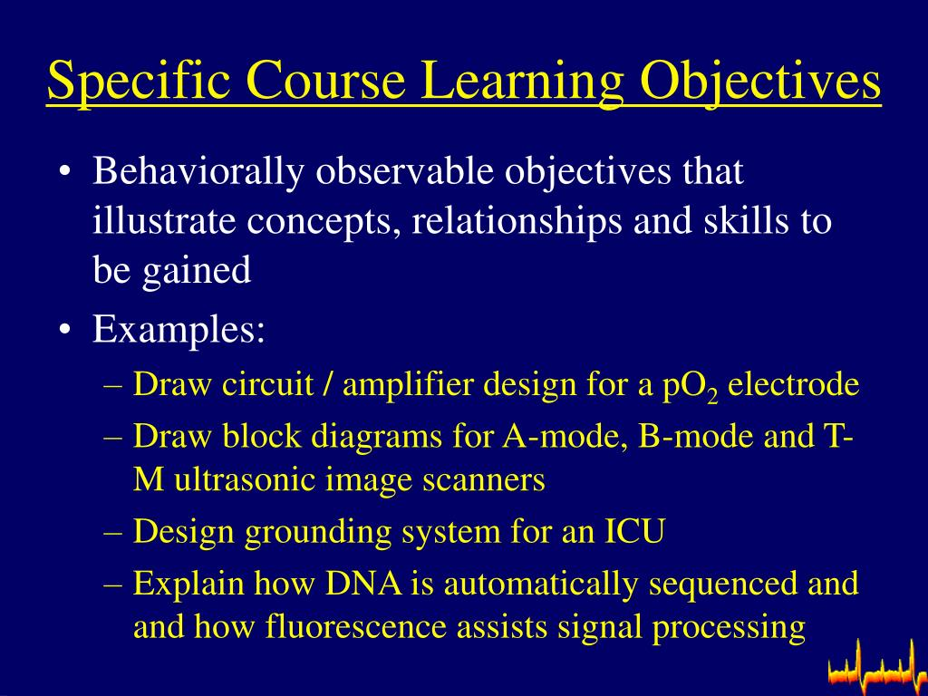Specific Course Learning Objectives