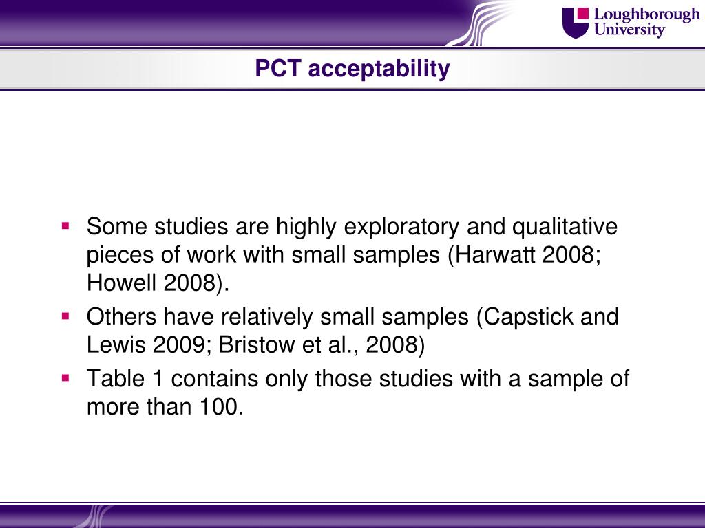 PCT acceptability