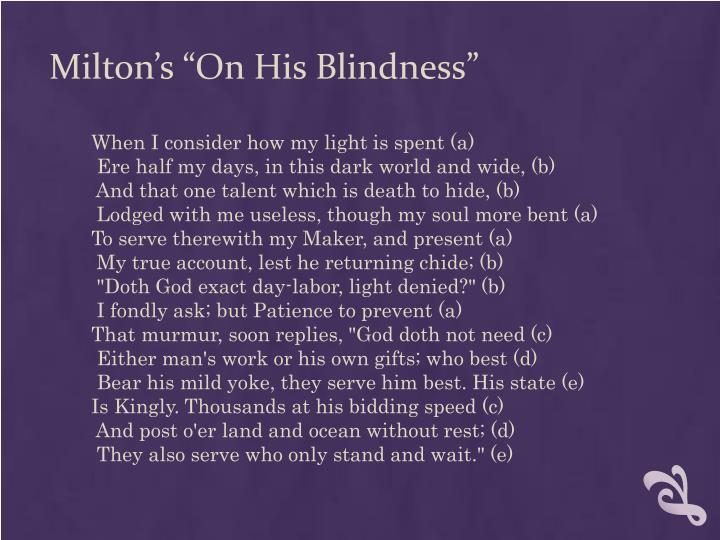 "Milton's ""On His Blindness"""