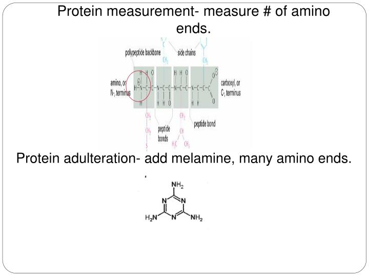 Protein measurement- measure # of amino ends.