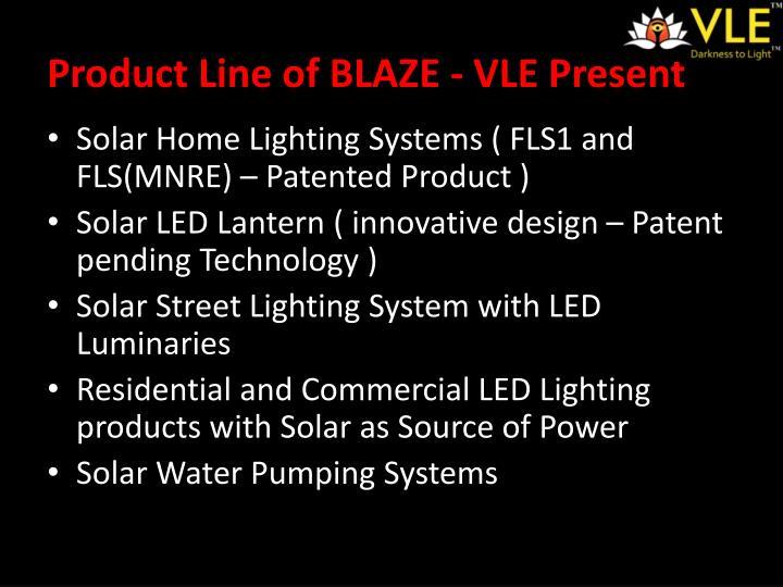 Product Line of BLAZE - VLE Present