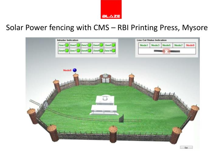 Solar Power fencing with CMS – RBI Printing Press, Mysore