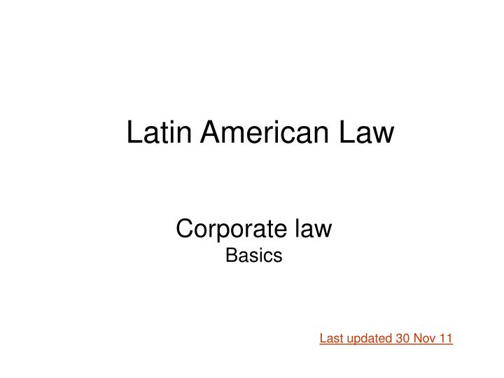 Corporate law basics