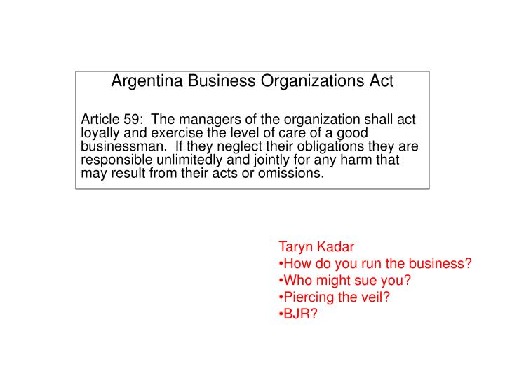 Argentina Business Organizations Act