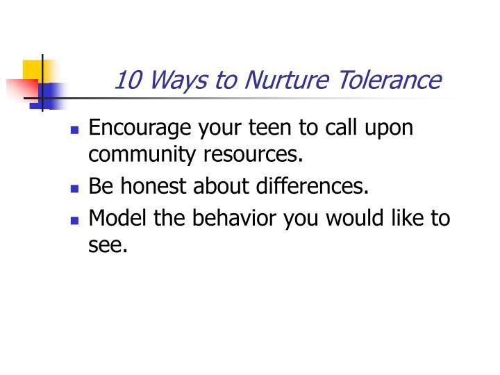 10 Ways to Nurture Tolerance