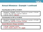 annual allowance example 1 continued