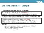 life time allowance example 1