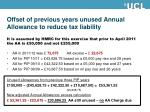 offset of previous years unused annual allowance to reduce tax liability