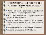 international support to the afforestation programmes examples