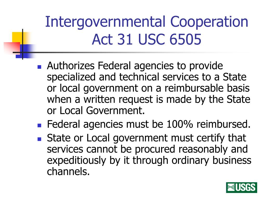 Intergovernmental Cooperation Act 31 USC 6505