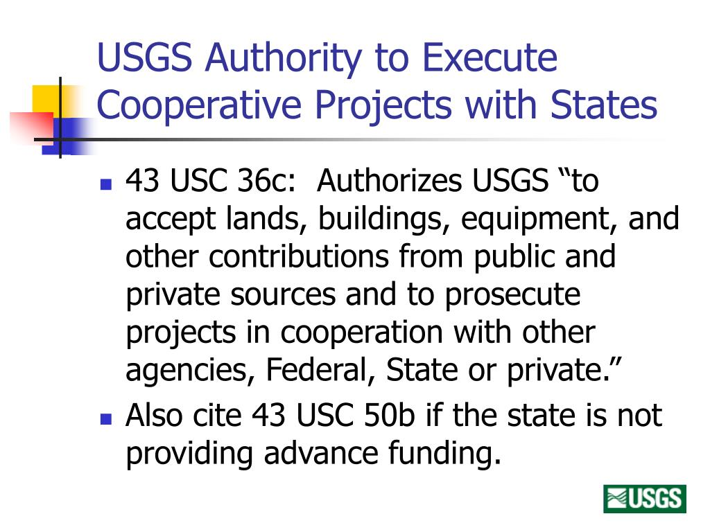 USGS Authority to Execute Cooperative Projects with States