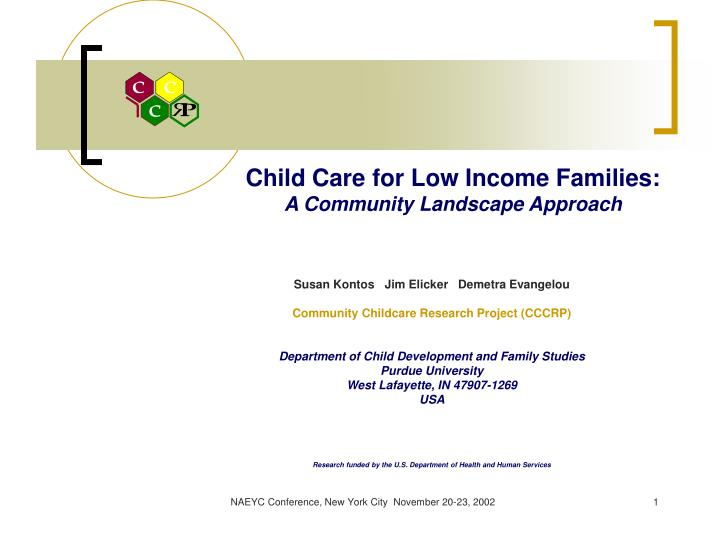 child care for low income families a community landscape approach n.
