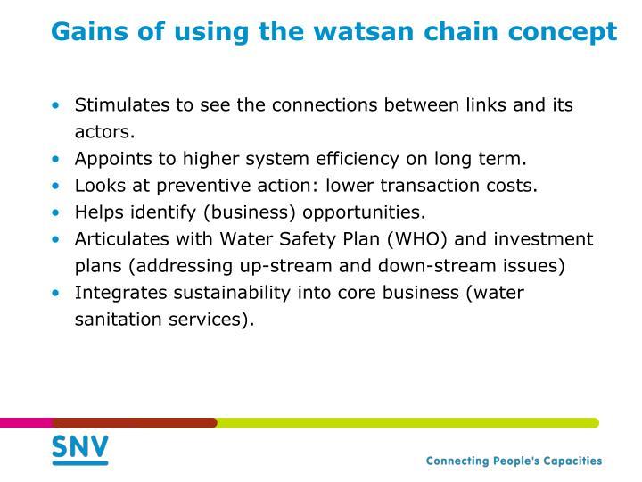 Gains of using the watsan chain concept