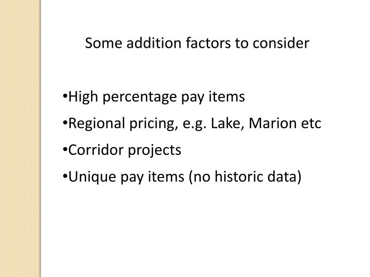Some addition factors to consider