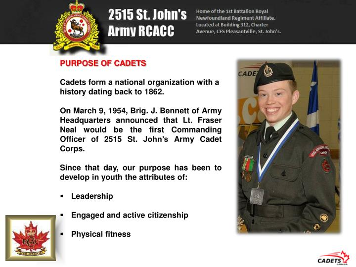 PURPOSE OF CADETS