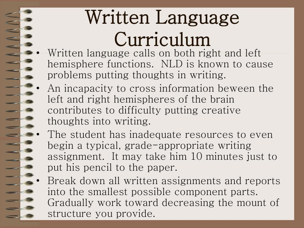 Written Language Curriculum