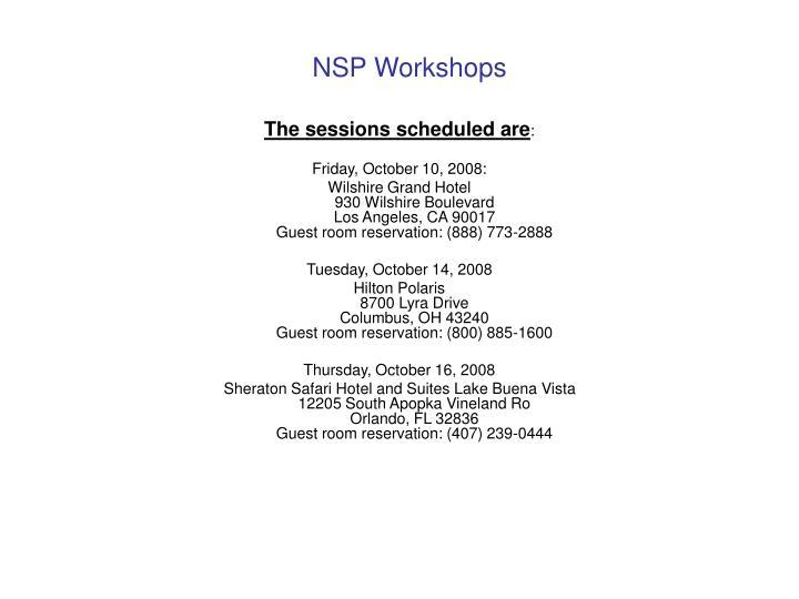 NSP Workshops